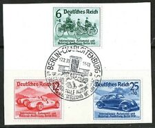 GERMANY 1939 CAR AND MOTORCYCLE SHOW SET 3 on piece CHARLOTTENBURG cancellation