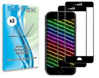 2x SDTEK Full Glass Screen Protector for iPhone SE 2020 / 8 / 7 / 6s / 6 (Black)