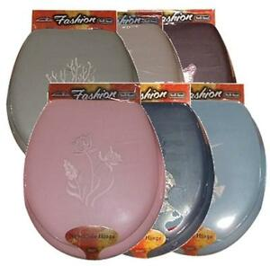 EMBROIDERED SOFT PADDED CUSHION TOILET SEAT - STANDARD SIZE ROUND