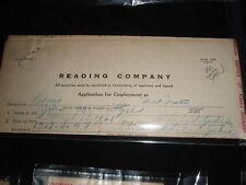 OLD READING RAILROAD EMPLOYMENT APPLICATIONS AND PHYSICAL EXAM RECORDS
