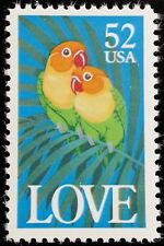 1991 52c Love, Colorful Parrots Scott 2537 Mint F/VF NH