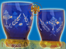 Orthodox Romanian Vigil Lamp Standing With Cross Carvings Blue Glass Ewiglicht