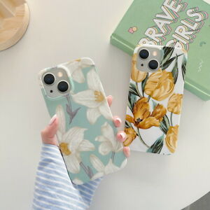 Glossy Flower Pattern Soft Case For iPhone 13 12 Pro Max 11 XR XS 7 8 Plus Cover