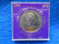 1972 QUEEN ELIZABETH II & PRINCE PHILIP SILVER WEDDING COMMEMORATIVE CROWN COIN