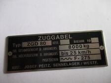 Josef Peitz Typenschild Schild Zuggabel Deichsel  ZGD 80  Espe