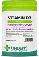 Vitamin D3 D 3000IU High Strength 120 Capsules Bones Immune Cholec Lindens UK