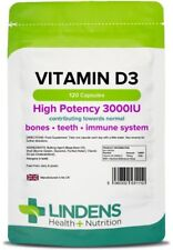 Vitamin D3 D 3000IU High Strength 120 Capsules Bones Immune Cholec Lindens UK