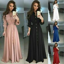 Women's Long Sleeve Maxi Dress Casual Evening Party Button Shirt Tops Dresses