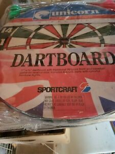 "Vintage Sportcraft UNICORN White and Black 17"" Steel Tip Dartboard Baseball Game"