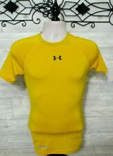 Men's Under Armour Compression Top Size S Mustard Short Sleeved Heat Gear