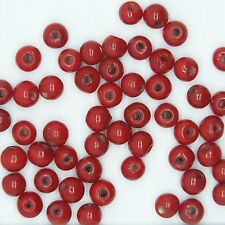 Glass Beads Red Opaque Round 6mm. Pack of 50. Made in India.