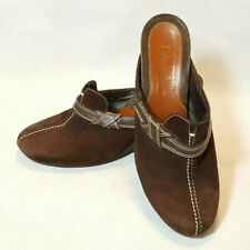 Cole Haan Wedge Mule Brown Suede Leather Strap Accent Sz 8