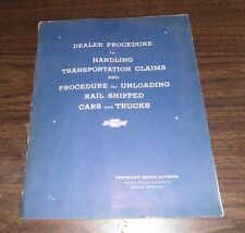 Chevrolet Dealer Procedure for Handling Transportation Claims VTG booklet