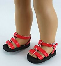 "Red Studded Strap Shoes Sandals Fits 18"" American Girl Doll Clothes"