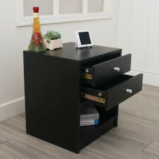 40 x 36 x 47cm Round Handle Night Stand with Two Drawer Black