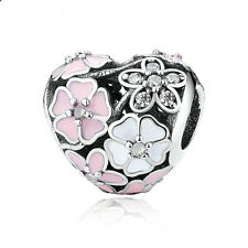 1pcs Silver heart Flowers European Charm Beads Fit 925 Necklace Bracelet Chain #