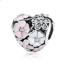 1pcs Silver heart Flowers European Charm Beads Fit 925 Necklace Bracelet Chain #