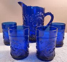 Vintage Westmoreland glass cobalt sculptured cherries pitcher and 4 tumblers