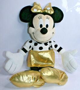 "Disney Minnie Mouse 21"" Gold Black White Dot Couture Pillow Buddy Plush"