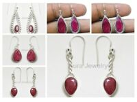 Beautiful Ruby Solid 925 Sterling Silver Earrings Handmade Mothers Day Gift