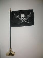 "Brethren of the Coast Pirate Jolly Roger Flag 4""x6"" Desk Set Gold Base"