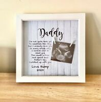 Personalised Fathers Day From The Bump Wooden Frame Cute Scan Frame Daddy Gift