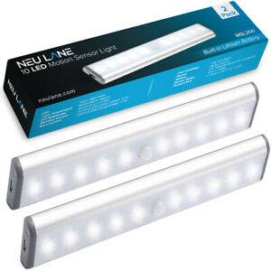 Under Cabinet LED Lighting for Kitchen & Closet - 2 Pack Rechargeable Light Bars