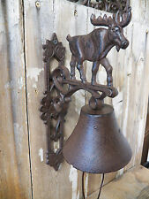 Antique-Style Cast Iron MOOSE Motif BELL Dinner Windchime Wind Chime Farm Ranch