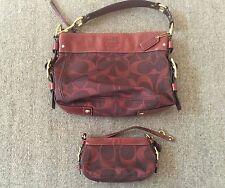 COACH Signature Canvas Handbag With Matching Wristlet Leather Trim Maroon