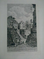 Vieux Paris, superbe eau-forte XIXème Rue Rollin A. Taiée gravure signée