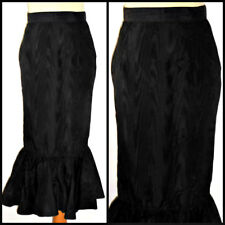 VINTAGE 80S NETTED FISHTAIL MERMAID PENCIL SKIRT UK  8 WATERED TAFFETA