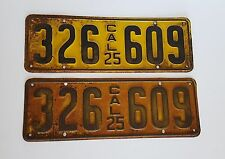 1925 California License Plates Pair Original Classic 326 609 CA