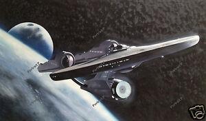 Star Trek Oil Painting Enterprise Space Ship Hand-Painted Art Canvas 24x40