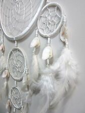 Large White 5 Web Dream Catcher w/ Natural Shells & Beads Handmade Wicca Pagan
