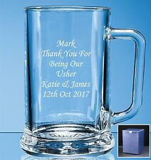 Personalised Engraved Pint Beer Glass Tankard Wedding Best Man - Usher gift