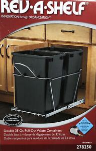 Rev A Shelf Double 35 Quart Undermount Pullout Waste Container RV-18PBC-5
