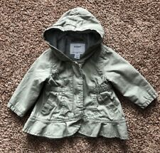 875698849 Baby Girls Old Navy Olive Army Green Ruffle Cargo Spring Jacket Coat 6-12  Months