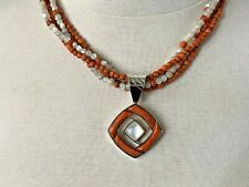 Jay King DTR Sterling Silver Multi-Strand Coral & Moonstone Necklace w/ Pendant