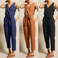 Women's Casual Solid Sleeveless V-Neck Belt Slim Plus Size Linen Long Jumpsuit