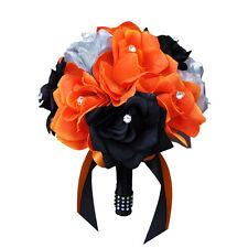 "8"" Bouquet: Orange, Black, Silver Artificial Roses"