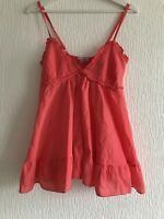 ONE SIZE OR 10/12 CORAL BABYDOLL TOP SUMMER/TOWIE/IBIZA/CELEB/GLAM/KYLIE/KIM NEW
