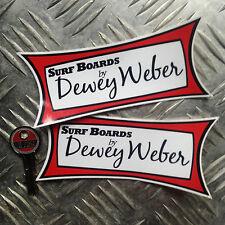 2x Dewey Webser surf stickers, vintage reproduction surf boards decals
