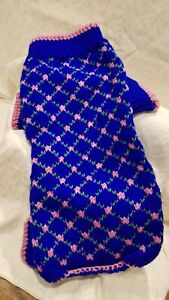 Dog Sweater Size Small knit 10 inch Blue and Pink