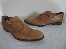 DOMENICO VACCA LAVORATA A MANO MEN'S TAN LEATHER MONK DRESS SHOES MADE IN ITALY