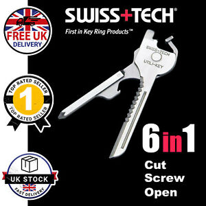 6-In-1 Multi Survival Tool Pocket Keyring Bottle Opener Screwdriver Mens Gift UK