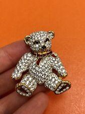 Swarovski Teddy Bear Enamel Brooch