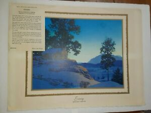 MAXFIELD PARRISH ORIGINAL PRINT WINTER SCENE 1956-EVENING- BROWN & BIGELOW