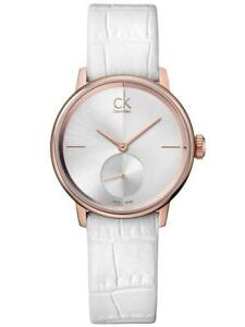 Womens Watch CALVIN KLEIN ACCENT K2Y236K6 Leather White Classic CK SWISS MADE