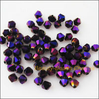 150 New Charms Shiny Violet Loose Faceted Bicone Glass Crystal Spacer Beads 4mm