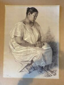 Francisco Zuniga original pencil drawing on paper